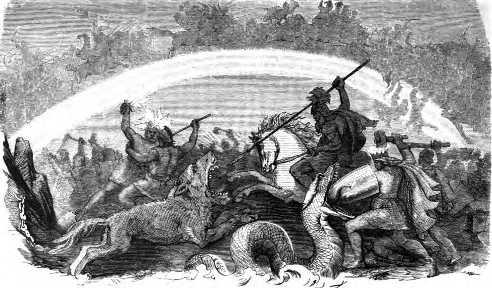 Battle of the Doomed Gods, engraving by Friedrich Wilhelm Heine (1882)