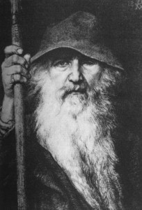 """Odin the Wanderer"" by Georg von Rosen (1886) (note the spear in Odin's hand, which has ""Gungnir"" in runes on its shaft)"