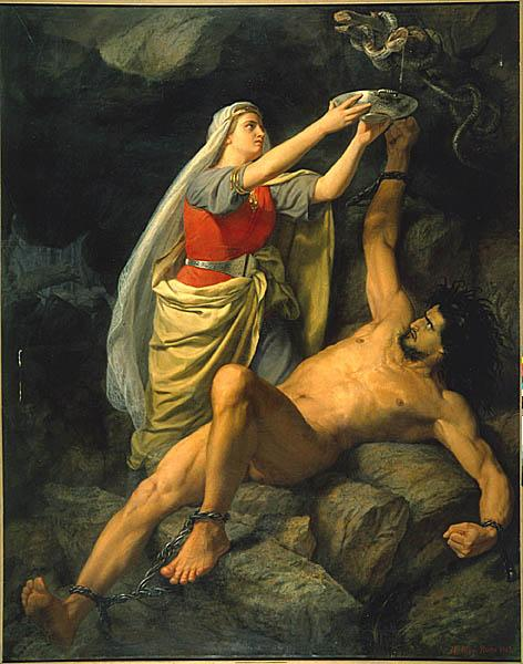Image of Loki and his wife below the snake