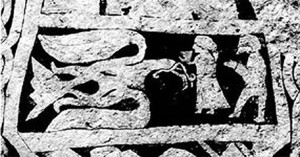 Odin in eagle form obtaining the mead of poetry from Gunnlod, with Suttung in the background (detail of the Stora Hammars III runestone)