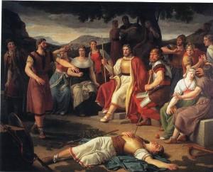 """""""Baldur's Death"""" by Christoffer Wilhelm Eckersberg (1817)"""