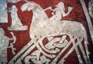 Odin riding Sleipnir (detail from the Tjängvide Runestone)