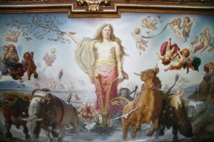 Gefjun plowing with her four oxen - painting on the ceiling of Frederiksborg Palace, Denmark