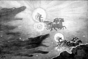 """The Wolves Pursuing Sol and Mani"" by J.C. Dollman (1909)"