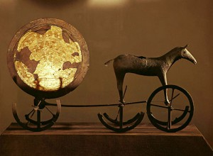 The Trundholm sun chariot. The chariot pulling the sun is a common Indo-European mythological motif.
