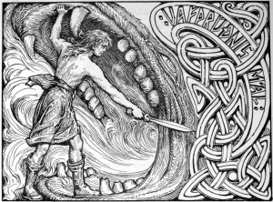 Vidar slays Fenrir in this 1908 drawing by W.G. Collingwood