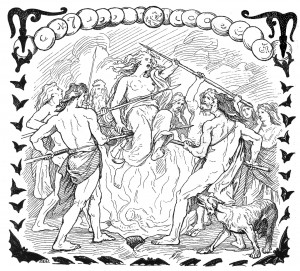 Gullveig being speared and burned in an 1895 illustration by Lorenz Frølich