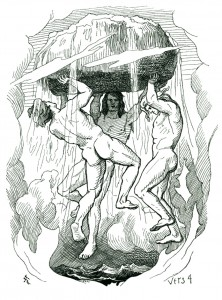 Odin, Vili, and Ve create the cosmos in a 19th-century illustration by Lorenz Frølich