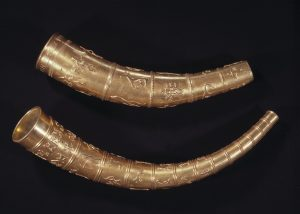 The replicas of the Gallehus horns at the National Museum of Denmark